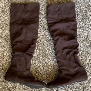 Brown faux suede knee high boots